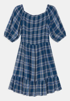 CHECKED DRESS - Day dress - blue