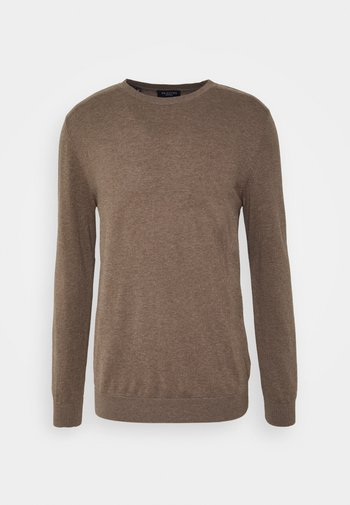 SLHBERG CREW NECK - Stickad tröja - teak/melange