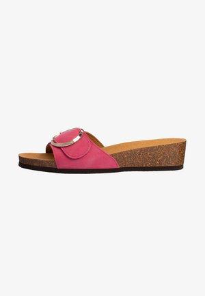 Sandalen met sleehak - fucsia