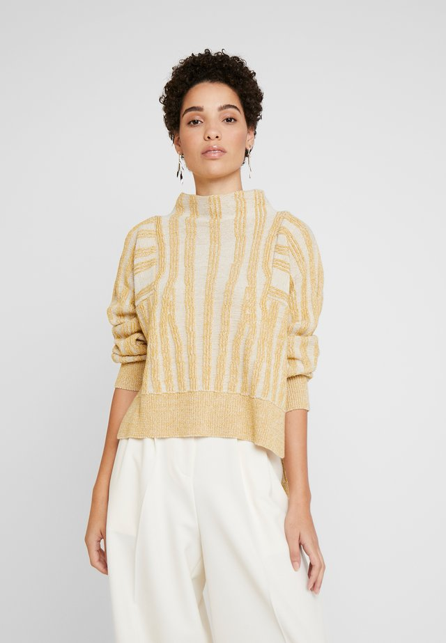 SLIT DETAILED HIGH NECK - Jumper - ecru melange
