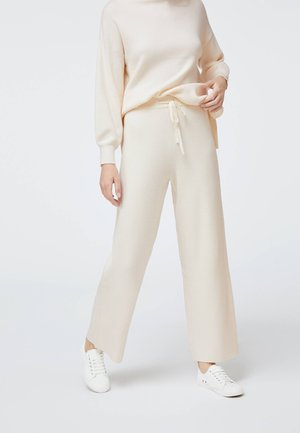 RIBBED FINE-KNIT STRAIGHT-LEG  - Trousers - white