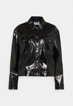 NMCRINKEL SHORT JACKET - Faux leather jacket - black