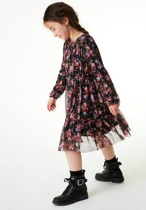 FLORAL (3-16YRS) - Day dress - black