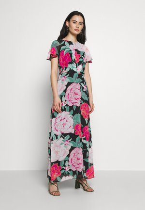 FLORAL PLEAT FRONT KEY HOLE SLEEVE MAXI DRESS - Robe longue - black