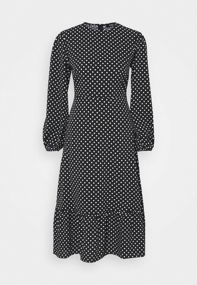 TIERED HEM MIDI DRESS POLKA - Day dress - black