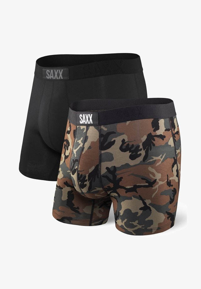 SAXX VIBE 2-PACK BOXER BRIEF BLACK/WOODLAND CAMO - Caleçon - Black/Woodland Camo