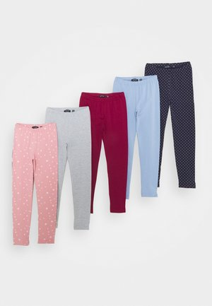 KIDS BASIC 5 PACK - Legíny - mauve/hell blau/nachtblau/nebel/bordeaux