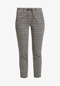 TOM TAILOR - CHECKED PANTS TAPE - Tracksuit bottoms - black/white/yellow/grey - 4