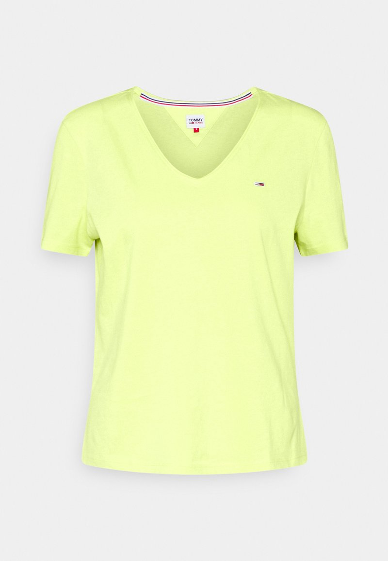 Tommy Jeans - SLIM VNECK - Basic T-shirt - faded lime