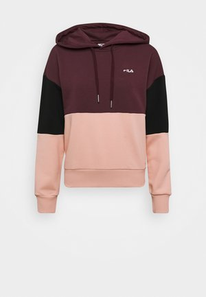 SANJA CROPPED HOODY - Sweat à capuche - tawny port/black/coral cloud