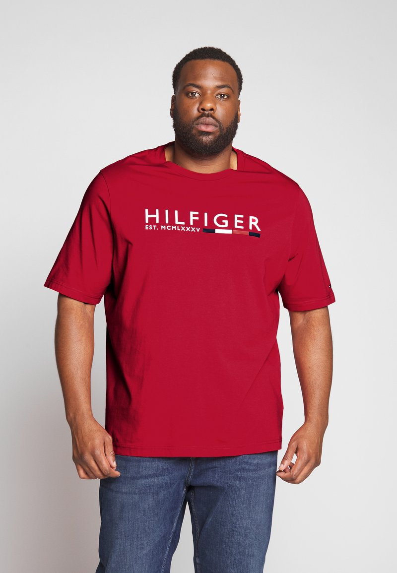 Tommy Hilfiger - CORP STRIPE TEE - T-shirt con stampa - red