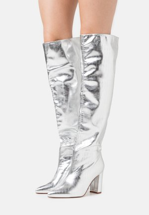WIDE FIT SIMMER - Over-the-knee boots - silver
