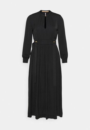 MIDI LENGTH DRESS WITH FITTED WAIST AND TIE DETAILS - Day dress - black