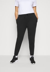 Even&Odd Curvy - SLIM FIT JOGGERS - Pantalon de survêtement - black - 0