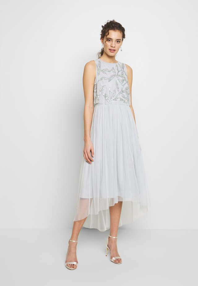 SLEEVELESS OVERLAY MIDI DRESS - Abito da sera - ice blue