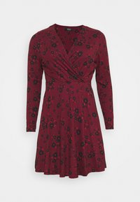 Simply Be - WRAP SKATER DRESS - Jersey dress - dark red - 0