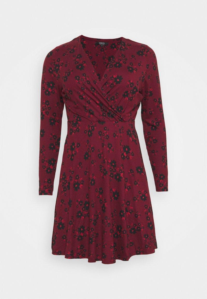 Simply Be - WRAP SKATER DRESS - Jersey dress - dark red