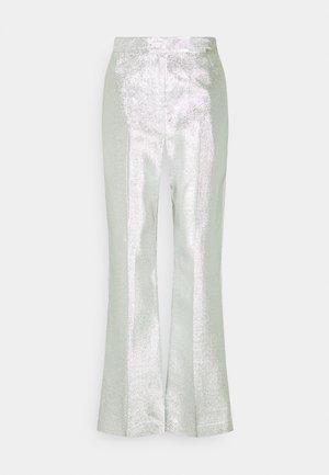 METALLIC LAME LEG TROUSER - Trousers - silver