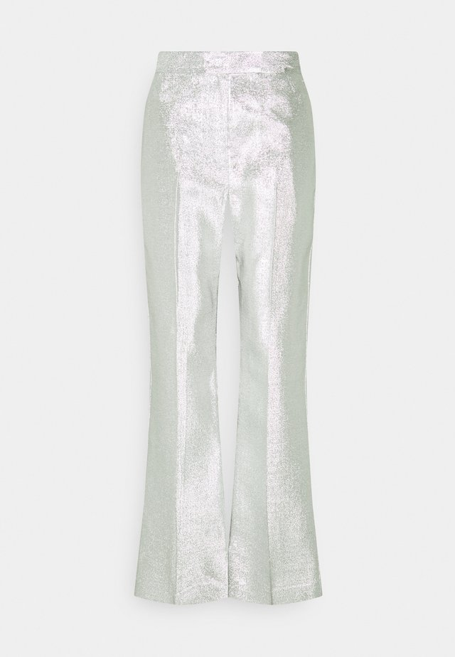 METALLIC LAME LEG TROUSER - Trousers - silver