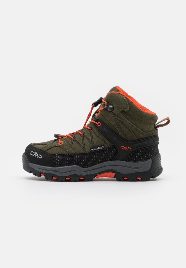 KIDS RIGEL MID SHOE WP UNISEX - Hiking shoes - olive/orange fluo