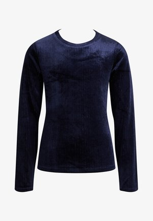 MEISJES VELVET MET GLITTERGAREN - Long sleeved top - dark blue