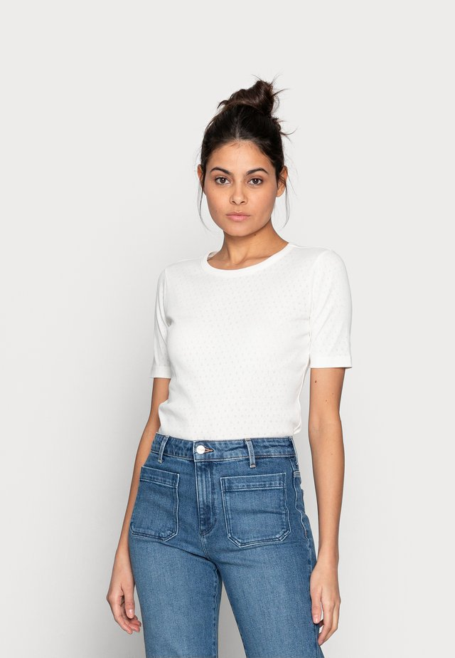 GRITH TOP - T-shirt print - egret