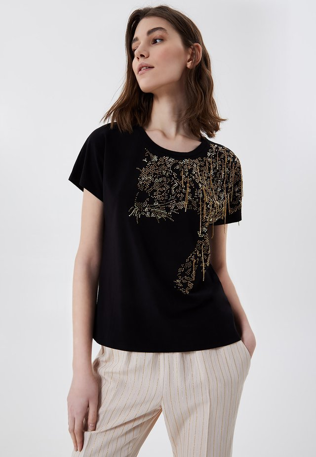 WITH APPLIQUÉS - T-shirt imprimé - black