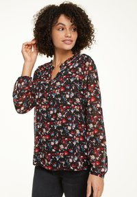 comma casual identity - MIT ALLOVER-MUSTER - Blouse - black camouflage - 0