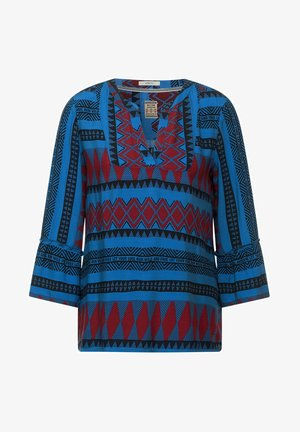 Blouse - turquoise/red
