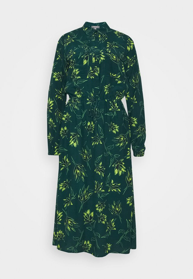 DRESS MIDI PRINTED - Shirt dress - deep green