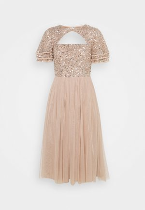 FLUTTER SLEEVE CUT OUT DELICATE SEQUIN MIDI - Cocktail dress / Party dress - taupe blush