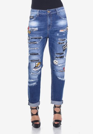 MOM RIPPED - Straight leg jeans - blue