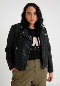 Even&Odd Curvy - Faux leather jacket - black - 0