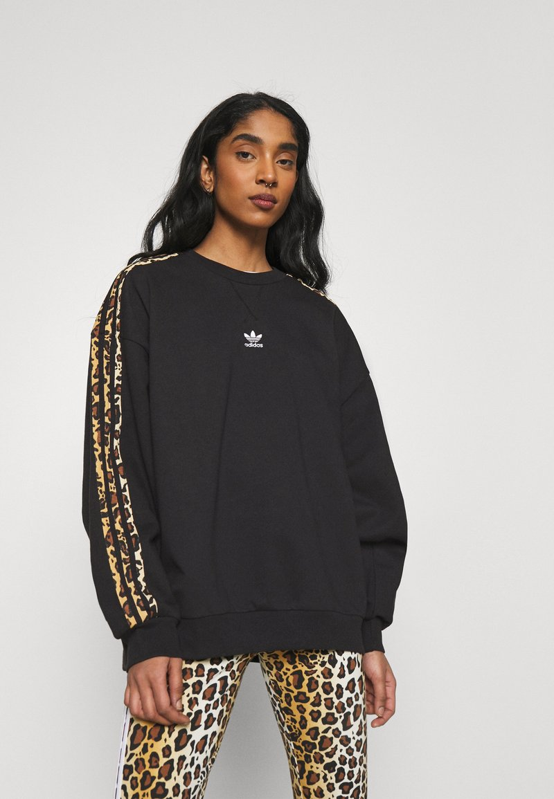 adidas Originals - LEOPARD CREW - Sweatshirt - black