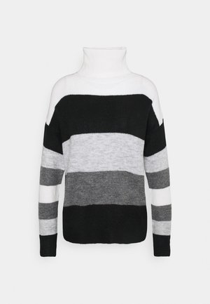 JDYELANORA STRIPE ROLLNECK - Jumper - dark grey melange