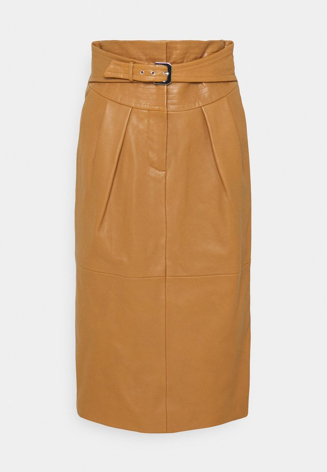 PIECES SKIRT - Leather skirt - brown