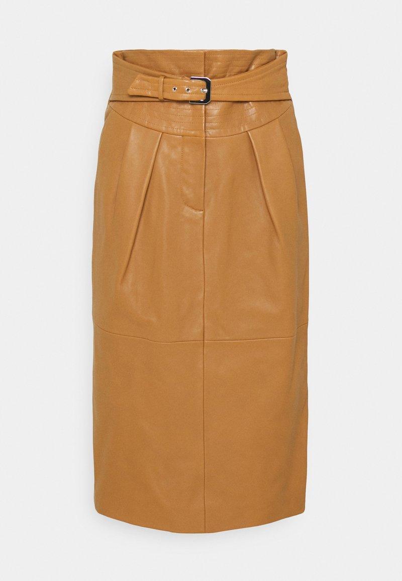 Alberta Ferretti - PIECES SKIRT - Leather skirt - brown