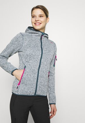 WOMAN JACKET FIX HOOD - Fleece jacket - petrol