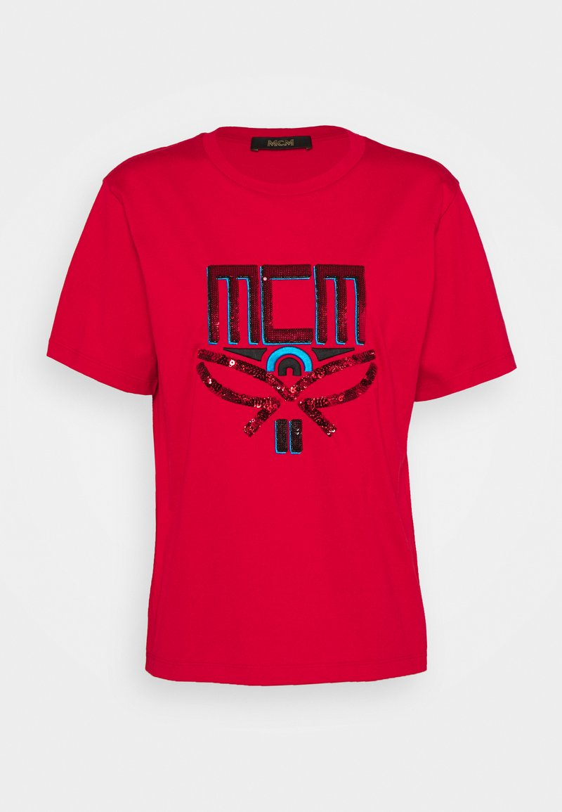 MCM - COLLECTION SHORT SLEEVES TEE - T-shirts med print - red