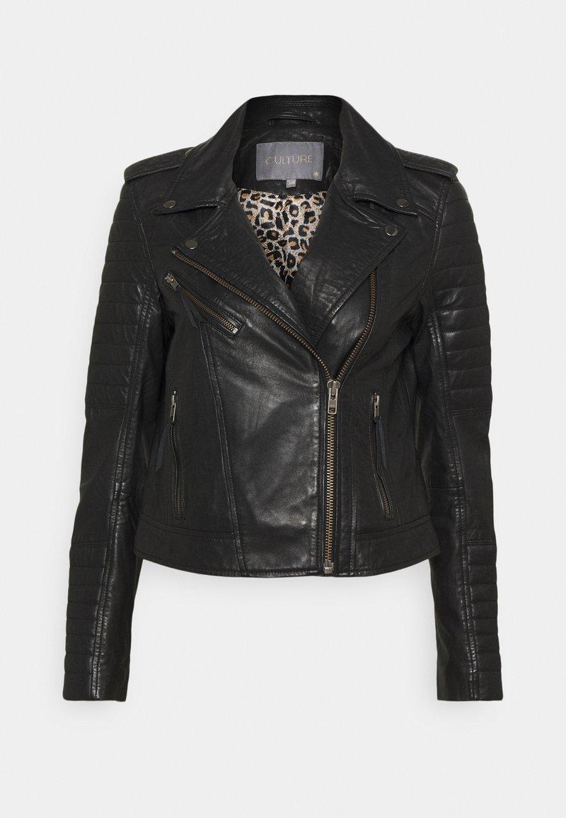 Culture - CENZIA JACKET - Leather jacket - black
