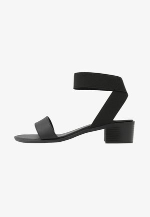 WIDE FIT POWER BLOCK HEEL - Sandály - black