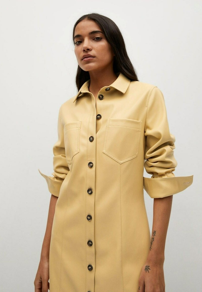 Mango - NASTIA - Shirt dress - giallo pastello