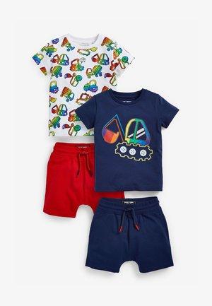2 PACK SET - Shorts - blue, white, light red