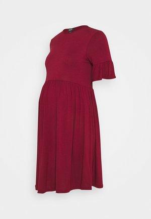 PLAIN PEPLUM DRESS - Jerseyjurk - dark burgundy