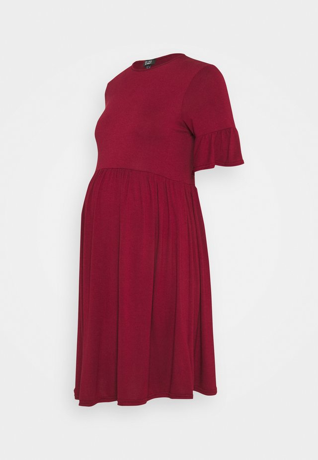 PLAIN PEPLUM DRESS - Sukienka z dżerseju - dark burgundy