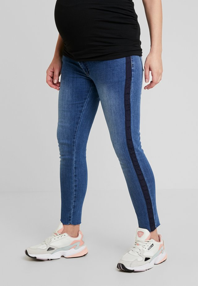 CROP WITH RIBBON - Jeans Slim Fit - indigo
