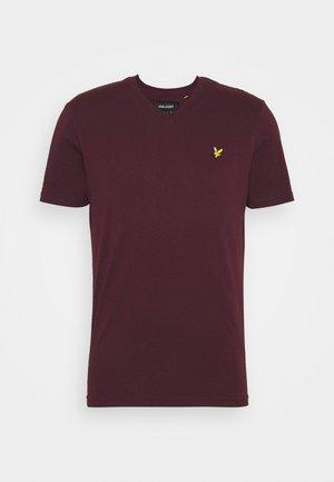V NECK - Basic T-shirt - burgundy