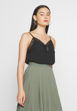 LACE BUTTON CAMI - Blouse - black