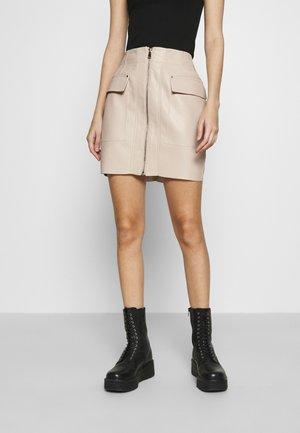 ZIP FRONT SKIRT - Mini skirts  - creme