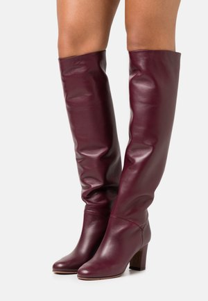 NO ZIP - Overknees - burgundy